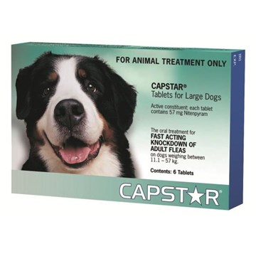 Capstar Large Dogs 26-125lbs (11.1-57kg) Tablets - 6 Pack