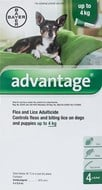 Advantage Green Dogs Under 8.8lbs (4kg) - 4 Pack