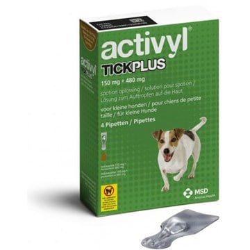 Activyl Tick Plus Spot-On for Small Dogs 11-22 lbs (5-10 kg) - 4 Pipettes