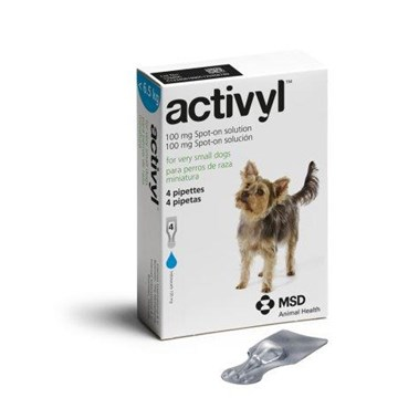 Activyl Spot-On for Very Small Dogs 4-14 lbs (1.5-6.5 kg) - 4 Pipettes
